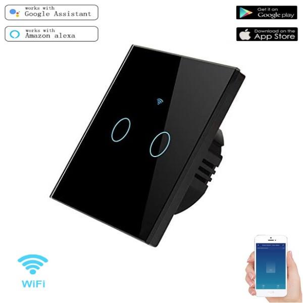 Розумний Сенсорний Двоканальний Вимикач Wi-Fi з управлінням голосом (Alexa/Google Home) Android / IOS