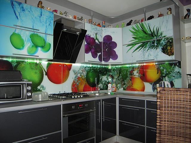 Кухонный фартук из стекла фрукты купить в Кременчуге
