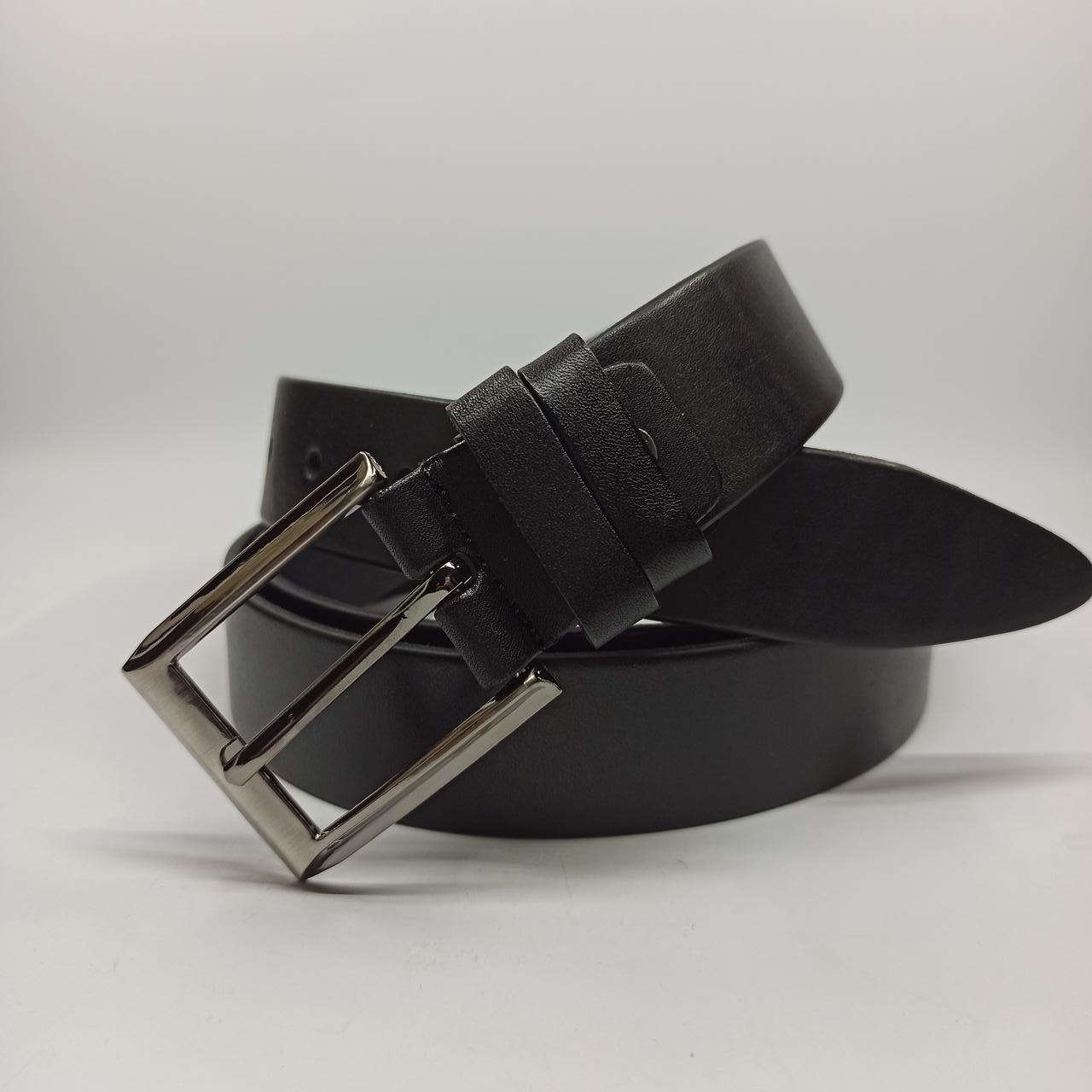 Мужской кожаный (PU) ремень с классической пряжкой 148 см Большая Длина Батал XXL B002