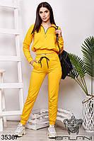 Спортивный женский жёлтый брючный костюм (размеры от 42 до 48)