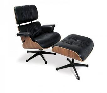 Кресло Релакс с оттоманкой, натуральная кожа, гнутая фанера, цвет черный