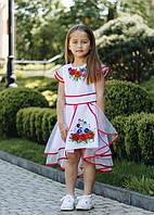 Стильное  нарядное белое детское платье с вышивкой с коротким рукавчиком