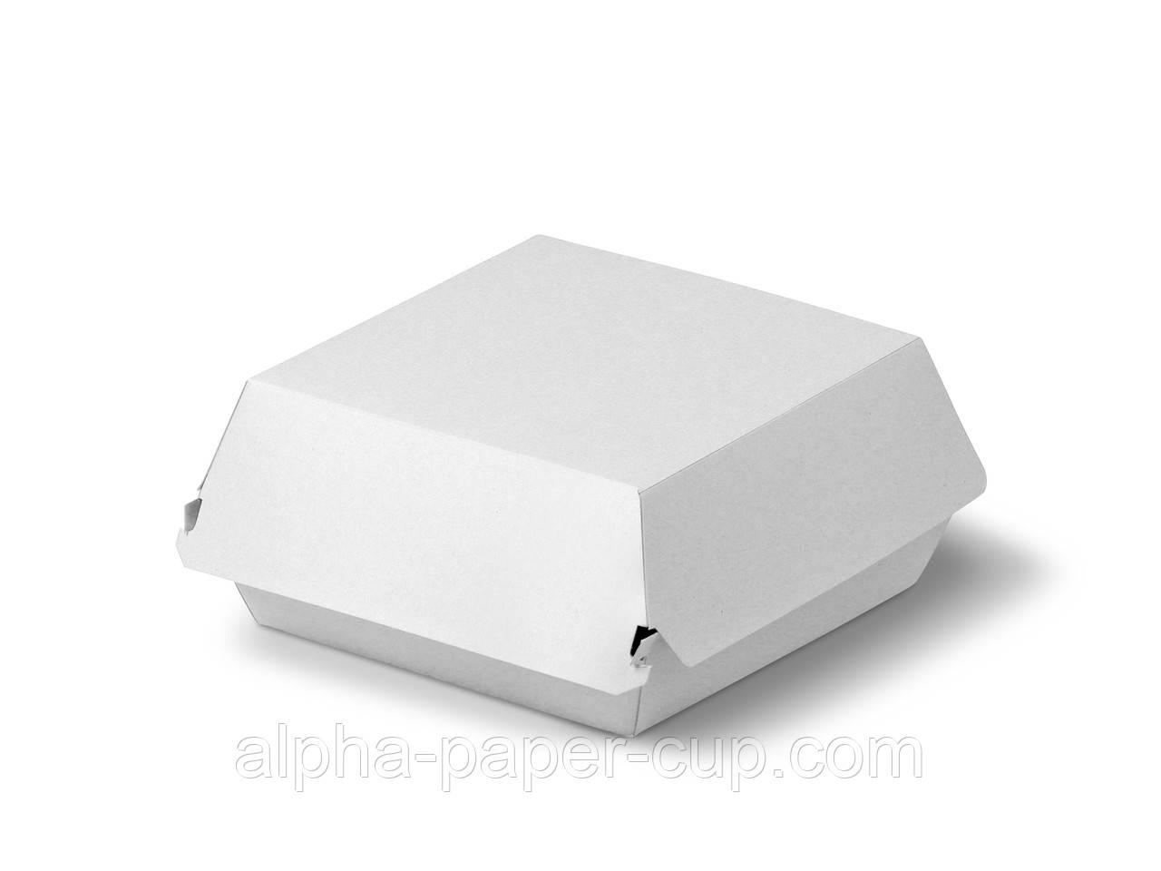 Упаковка гамбургер Midi 110*110*80 белая, 100 шт/уп, 10 уп/ящ.