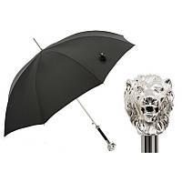 Зонт-трость Pasotti 478-OXFORD/18 черный с серебристой ручкой Лев