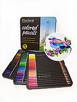 Олівці кольорові 72 кольори у металевому пеналі. Преміум набір для творчості
