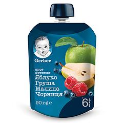 Пюре фруктове Gerber Яблуко, Груша, Малина, Чорниця, 6+, 90г
