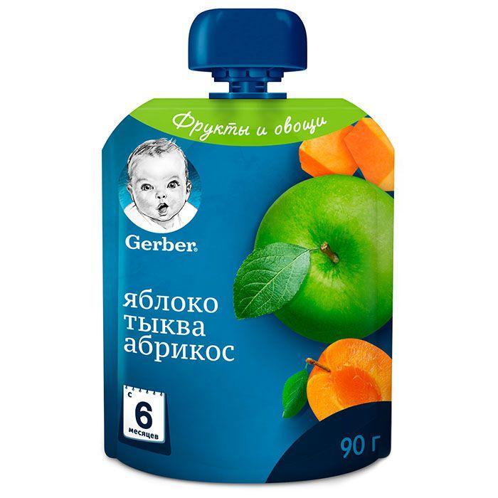 Пюре фруктово-овочеве Gerber Яблуко, Гарбуз, Абрикос, 6+, 90г