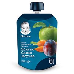 Пюре фруктово-овочеве Gerber Яблуко, Слива, Морква, 6+, 90г