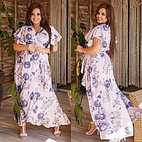 Нарядное платье на запах с поясом летнее. Летние платья на запах цветочный принт. Платье с запахом большого размера. Коктейльное женское платье на