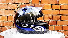 Шоломи для мотоциклів Hel-Met 101 чорний синій малюнок, фото 2