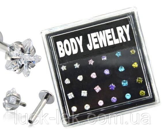 Лабрет, пирсинг для хряща уха 3 мм Body Jewelry, форма и цвет циркона на выбор