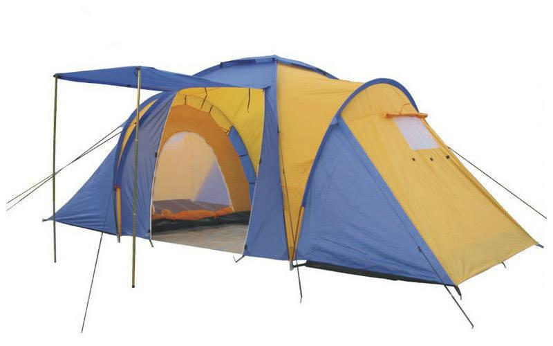 Палатка кемпинговая 4-х мест 2-х комн с тентом и тамбуром FAMILY SY-100804 (2,1x(1,4+1,7+1,4)х1,7м)