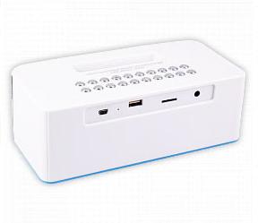 Портативная Bluetooth стерео колонка с подставкой, LED часами и будильником Wster WS-1530BT Белая, фото 2