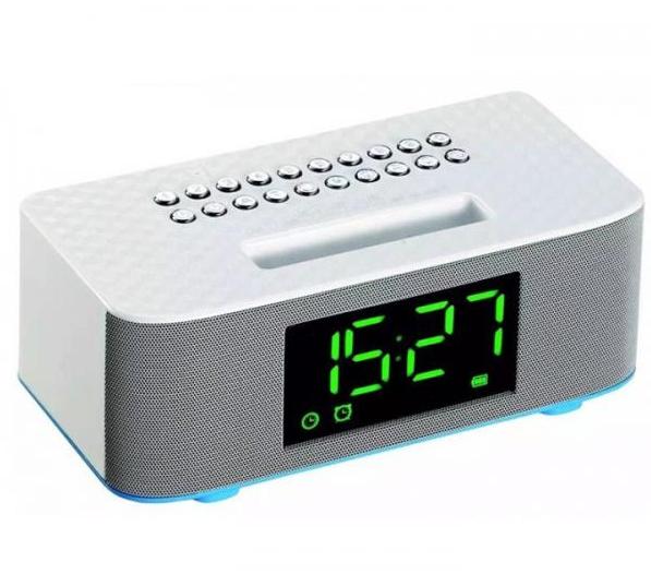 Портативная Bluetooth стерео колонка с подставкой, LED часами и будильником Wster WS-1530BT Белая