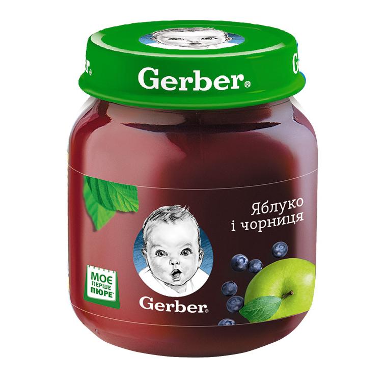 Пюре фруктове Gerber Яблуко і Чорниця, 6+, 130г