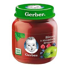 Пюре фруктове Gerber Яблуко з лісовим ягодами, 6+, 130г