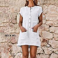 Платье мини,лён,5 цветов,42-44,44-46
