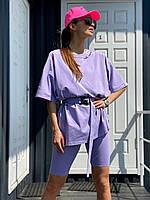 Женский летний повседневный костюм велосипедки с футболкой и поясом