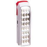 Фонарь аккум. светодиодный переносной LL-2015 (24led, солн. бат., аккум., р-р 19,5х6см, белый-красный), фото 2