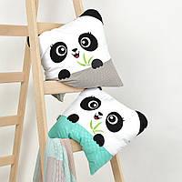 Подушка игрушка Панда мята и серая