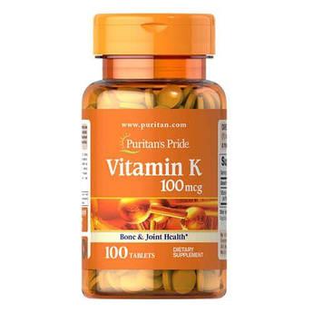 Витамин К, Puritan's Pride Vitamin K 100 mcg 100 таб