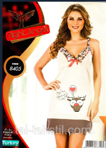 Ночная рубашка-домашний сарафан узкая бретель Night Angel № 8405, фото 2