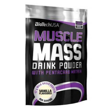 Гейнер, BioTech Muscle Mass 1000 грамм, Ваниль шоколад