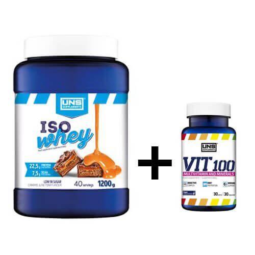 Протеин, UNS Iso Whey 1200 грамм, Клубника