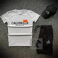 Летний спортивный костюм мужской 3 в 1 шорты футболка и кепка CK серо-черного цвета