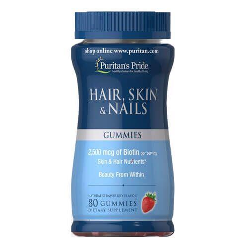 Для волос, кожи и ногтей, в виде жевательных конфет, Puritan's Pride Hair, Skin Nails 80 gummies