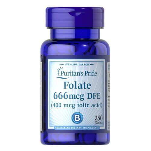 Puritan's Pride Folate 666mcg DFE (Folic Acid 400 mcg) 250 таб