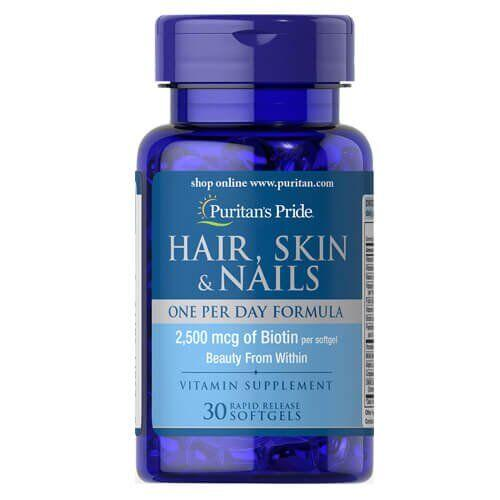 Puritan's Pride Hair, Skin Nails One Per Day Formula 30 капсул