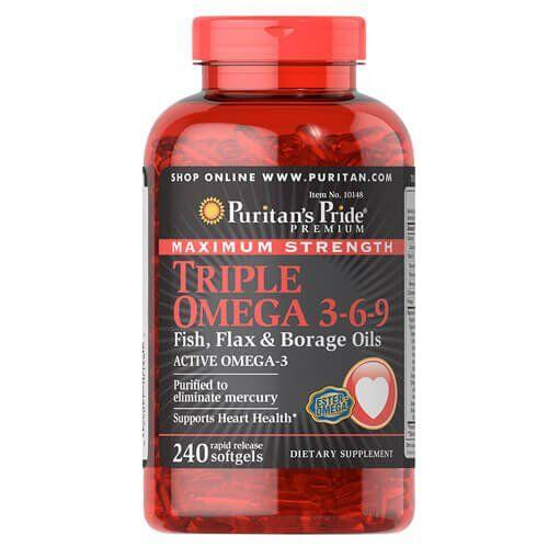 Puritan's Pride Maximum Strength Triple Omega 3-6-9 240 капсул