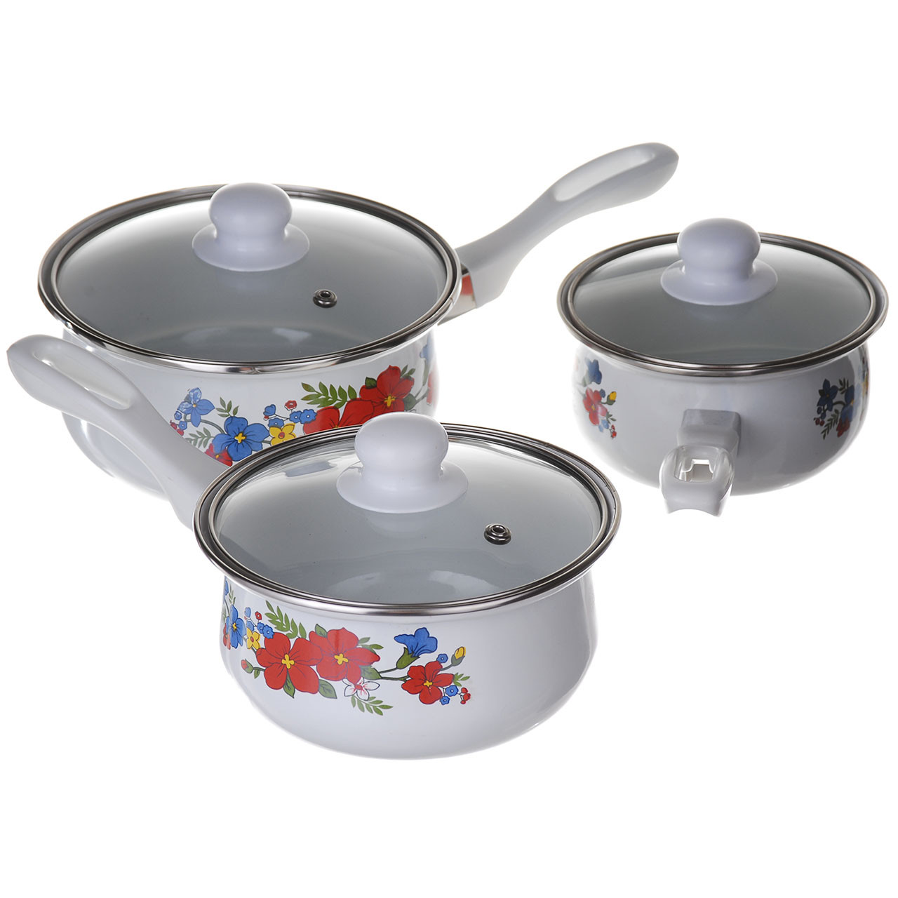 Ковші сотейники кухонні емальовані A-PLUS набір 3 шт