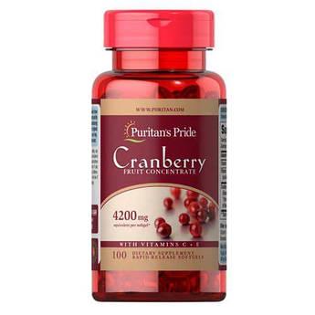 Высококонцентрированный экстракт клюквы, Puritan's Pride Cranberry Fruit Concentrate with C + E 4200 mg 100