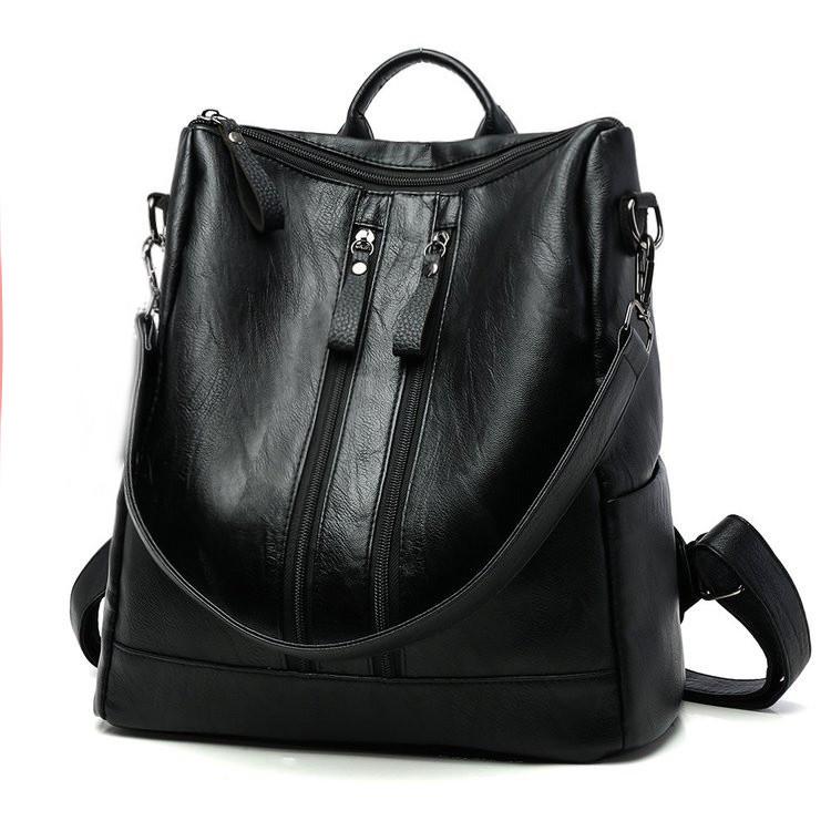 Черный женский повседневный рюкзак с меховым помпоном кожа PU. УЦЕНКА