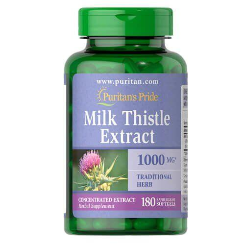Puritan's Pride Milk Thistle 4:1 Extract 1000 mg (Silymarin) 180 капсул