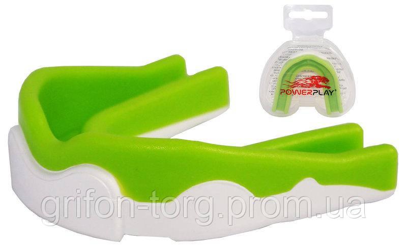 Капа боксерська PowerPlay 3302  JR Зелено-Біла