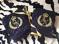 Махровые халаты с именной вышивкой пара