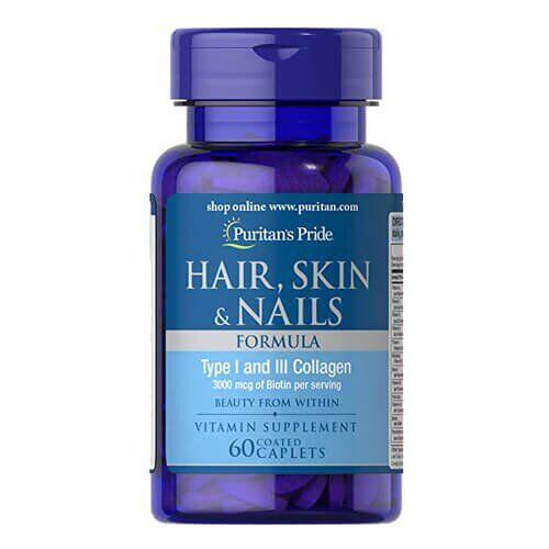 Puritan's Pride Hair Skin and Nails Type I and III collagen 60 таб