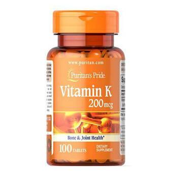 Puritan's Pride Vitamin K 200 mcg 100 таб