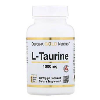 Таурин, California Gold Nutrition L-Taurine 1000 mg 60 капсул
