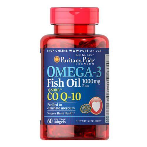 Puritan's Pride Omega-3 Fish Oil 1000 mg + Co Q-10 30 mg 60 гелевых капсул