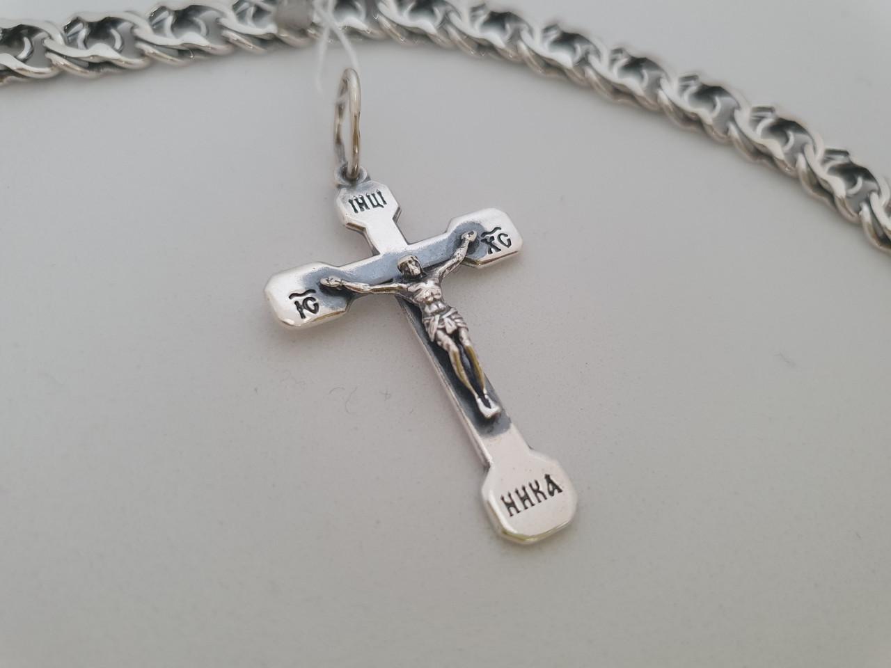 Серебряный православный крестик с распятием. Вес 3,1 гр. 925 проба