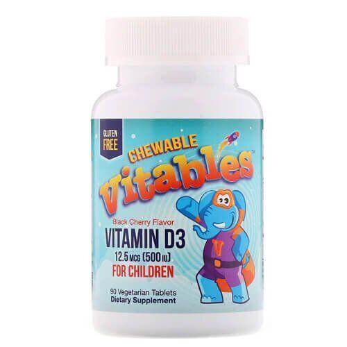 Витамин D для детей, Vitables Vitamin D3 Chewable for Children 90 жевательных конфет