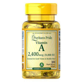Puritan's Pride Vitamin A 8,000 IU (2,400 mcg) 100 жидких капсул
