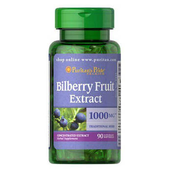 Puritan's Pride Bilberry 4:1 Extract 1000 mg 90 жидких капсул
