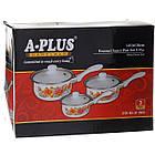 Ковші сотейники кухонні емальовані A-PLUS набір 3 шт, фото 5