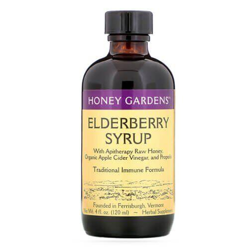 Honey Gardens Elderberry Syrup with Apitherapy Raw Honey Propolis and Elderberries 120 мл