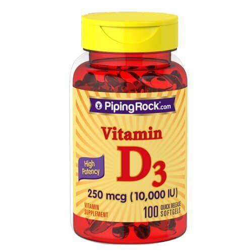 Витамин D, PipingRock High Potency Vitamin D3 10,000 IU 100 жидких капсул